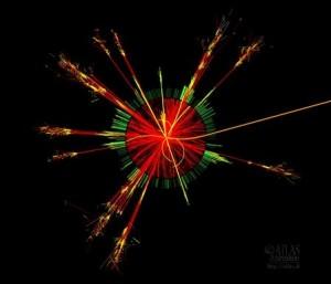 Εικόνα: Προσομοίωση διάσπασης μποζονίου Higgs από το πείραμα ATLAS. Πηγή CERN